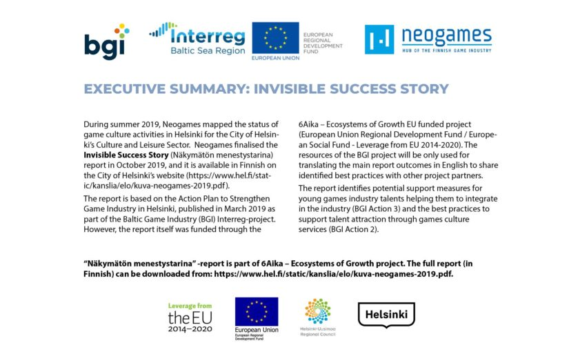 Invisible success story – Game activities in Culture and Leisure Sector in Helsinki