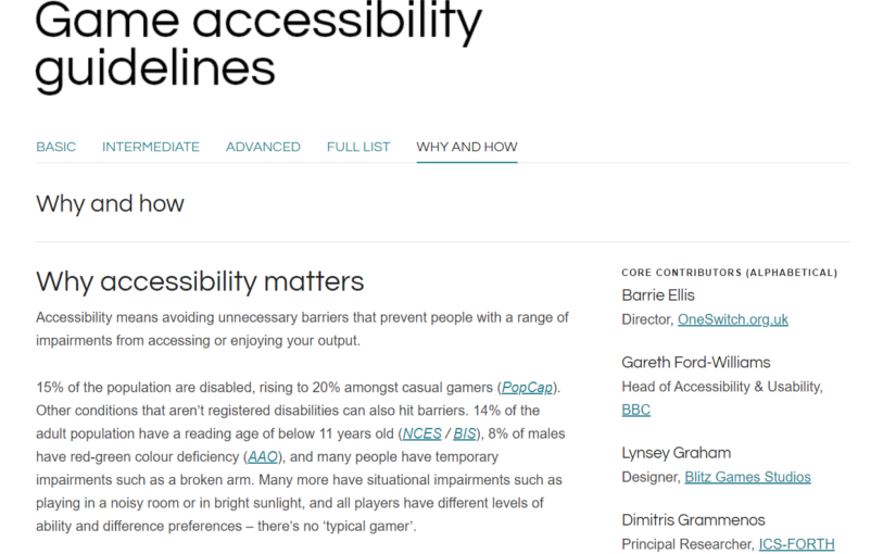 Games Accessibility Guidelines